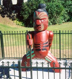Tamakae, an impressive statue carved from swamp kauri logs.