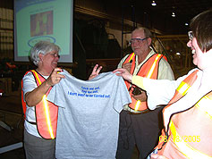 At a dinner to celebrate their journey toward zero harm, all employees in the Butler Buildings Southeast Region received a T-shirt with the winning safety slogan for the year.